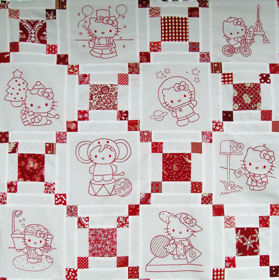 hello kitty redwork quilt top u2013 q is for quilter