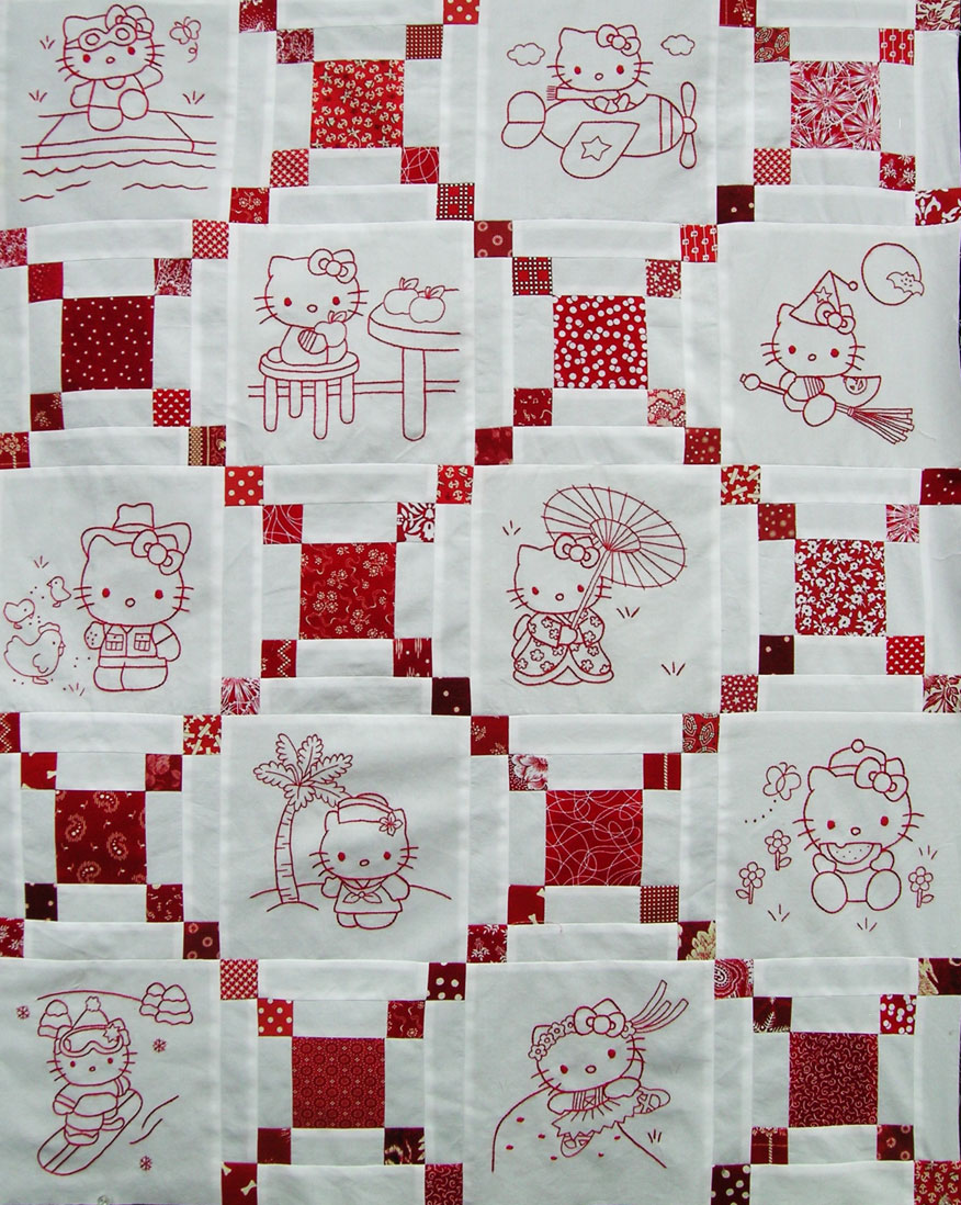Hello Kitty Redwork Quilt Top Q is for Quilter